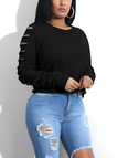 Black Round Neck Cut Out Details Sweatshirt