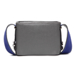 Grey Embossed Leather Shoulder Bag