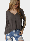 Khaki Fashion Sequin Irregular hem Top