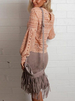 Pink Lantern Sleeves Hollow Out Lace Blouse
