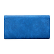 Geo Metal Embellished Leather-look Clutch Bag in Blue with Shoulder Strap