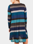 Blue Stripe Round Neck Long Sleeves Stitching Casual Dress