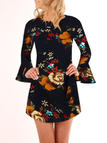 Random Floral Printed Long Bell Sleeves Mini Dress