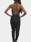 Black Open Back Hollow Design Halter Sleeveless Sexy Jumpsuit
