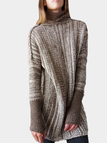 Coffee High Neck Long Sleeves Loose Sweaters