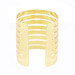 Gold Hollow Hoop Open Ended Wide Cuff Bracelet