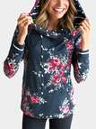Black Floral Print Front Patch Pocket Hooded Sweatshirts