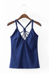 Dark Blue Plunging Neck Ribbed Cami Top with Strappy Design