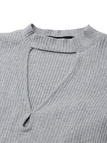 Light Grey Hollow Out Front Split Sleeves Knit Sweater