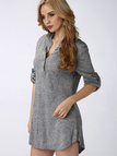 Gray V-neck Knit Long Sleeves T-shirt Dress without Belt