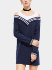 Blue Stripe Pattern Round Neck Cold Shoulder Casual Dress