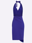 Royal Blue Sexy Backless Slit Design Dress