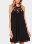 Black Sleeveless Lace Details Mini Dress