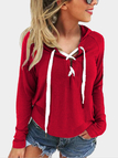 Red Deep V-neck Lace-up Design Long Sleeves Hooded Sweatshirt