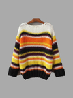 White Pullover Stripe Pattern Knit Sweater