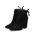Black Suede Lace-up Heeled Ankle Boots