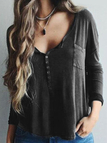 Casual Button Pocket Front Plunge Blouse