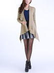 Apricot Lapel Collar Knitted Cardigan with Open Front