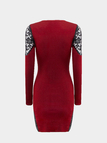 Red Lace Insert Long Sleeve Mini Dress in Knit