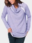 Purple Contrasting Roll Neck Long Sleeves Stitching Sweatshirt