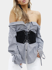 Grid Off Shoulder lace-up Long Sleeves Blouses