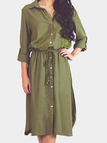 Lapel Long Sleeve Shirt Dress in Green