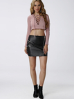 Black Artificial Leather Mini Skirt