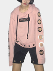 Pink Mental Circle Hollow Out Long Sleeves Hoodie