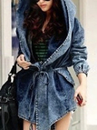 Denim Self-tie Waist Long Sleeves Hooded Trench Coat