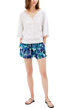 Mini Culottes Shorts In Abstract Print