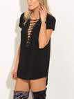 Black Lace-up Design Mini Dress
