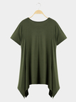 Army Green Casual Round Neck Swing Mini Dress