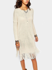 Beige Side Split Tassels Long Length Casual Sweater Dress