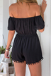 Black Front Layered Off Shoulder Playsuit