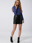 See-through Pleats Royal Blue Straps Front Blouse
