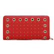 Eyelet Studded Leather-look Long Purse in Red