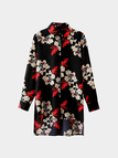Random Floral Pattern Asymmetrical Hem Fashion Shirt
