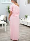 Pink Short Sleeves One Shoulder Splited Loose Dress with Side Pockets