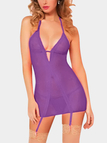 Purple Sexy Deep V-neck Lace Details Pajamas Dress with T-back