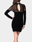 Sexy Black Mesh Long Sleeves High Waist Keyhole Back Mini Dress