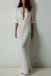 White V-neck 3/4 Length Sleeves Dress