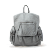 Grey PU Leather Backpack