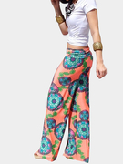 Orange Vintage Floral Straight Trousers
