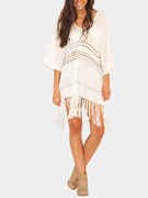 Sexy Summer V-neck Fringed Stripped Knit Beachwear