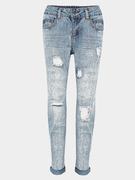 Comprimento do tornozelo Slim Boyfriend Jeans With Rips