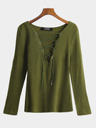 Army Green Plunge Lace-up Knit Sweater with Long Sleeves
