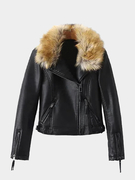 Artificial Fur Leather Look Biker Jacket