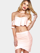 Off The Shoulder Flouncy Détails Wrap front Mini Skirt Co-ord
