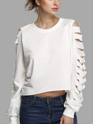 White Ripped Long Sleeve Top