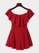 Red Off Design do ombro Ruffle Details Playsuit